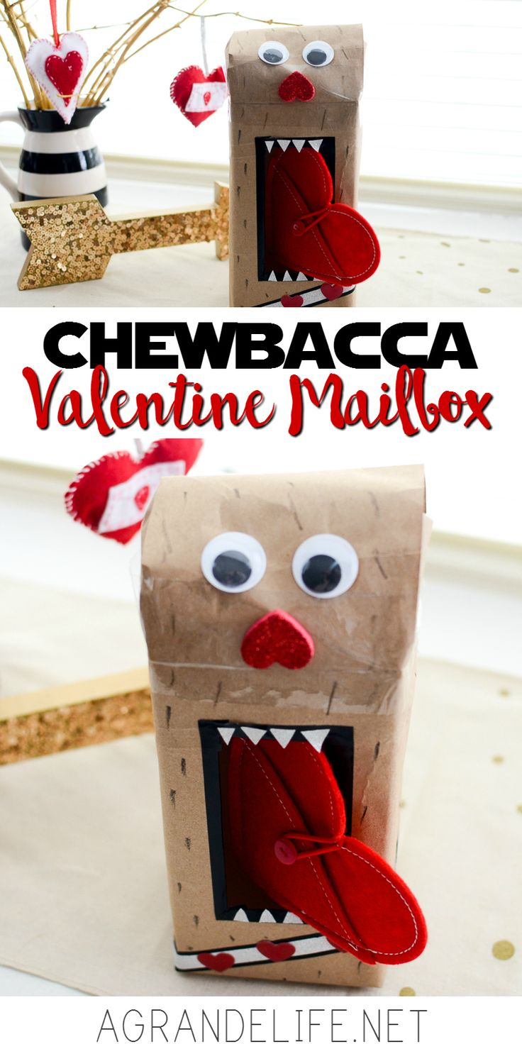 """Parents everywhere are scrambling to """"help"""" their child make a Valentine Mailbox. With some kraft paper and washi tape, you can make this Chewbacca Valentine Mailbox in less than 15 minutes."""