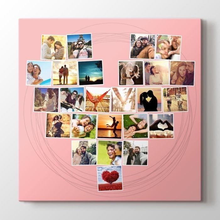 Sevgililer Günü hediyesi  Kişiye özel hazırlanan kanvas tablo   Fotoğraf yükle - ölçü seç - adresine gelsin pembe kalp mozaik kolaj