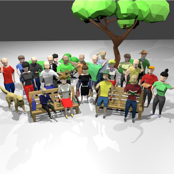 Low poly people scenes kit 3D  Fully customizable low-poly 3D model