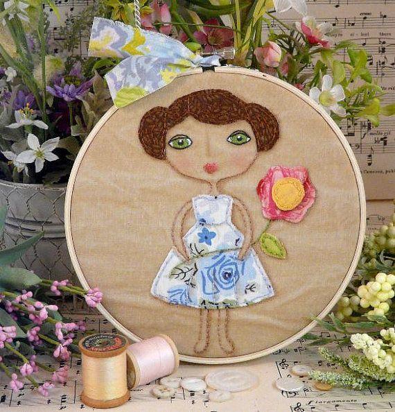 Vintage Garden Party Girl Stitchery PDF Pattern - primitive Hoop art embroidery flowers