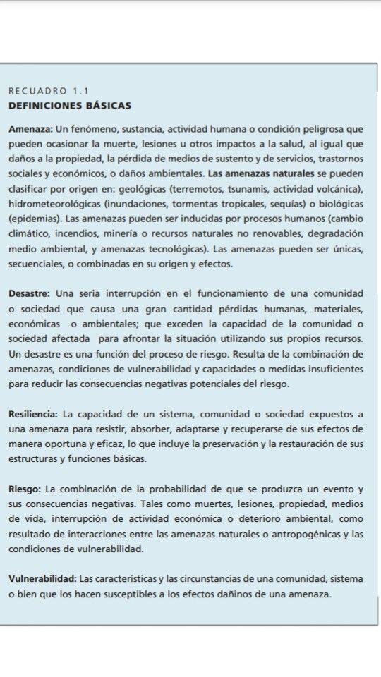 Definiciones de la Gestión de Riesgos de Desastres