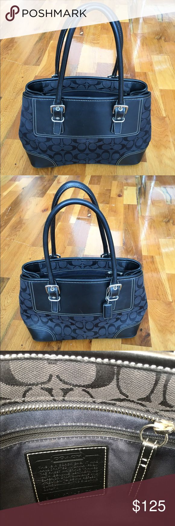 """Coach signature carryall purse Black Gray 14 x 9 Coach Small Carryall in Signature Canvas with leather trim in Black/Gray.  Inside zip, cellphone and multifunctional pockets.  Snap cinched sides, fabric lining.  13 3/4"""" (L) x 9"""" (H) x 5"""" (D) --- a few tiny surface scuffs that you can barely see, otherwise in perfect condition. Originally bought from the Coach store in a mall for $395 and has been sitting in my closet.  (5"""" widest depth, 2"""" depth when snapped closed) Coach Bags"""