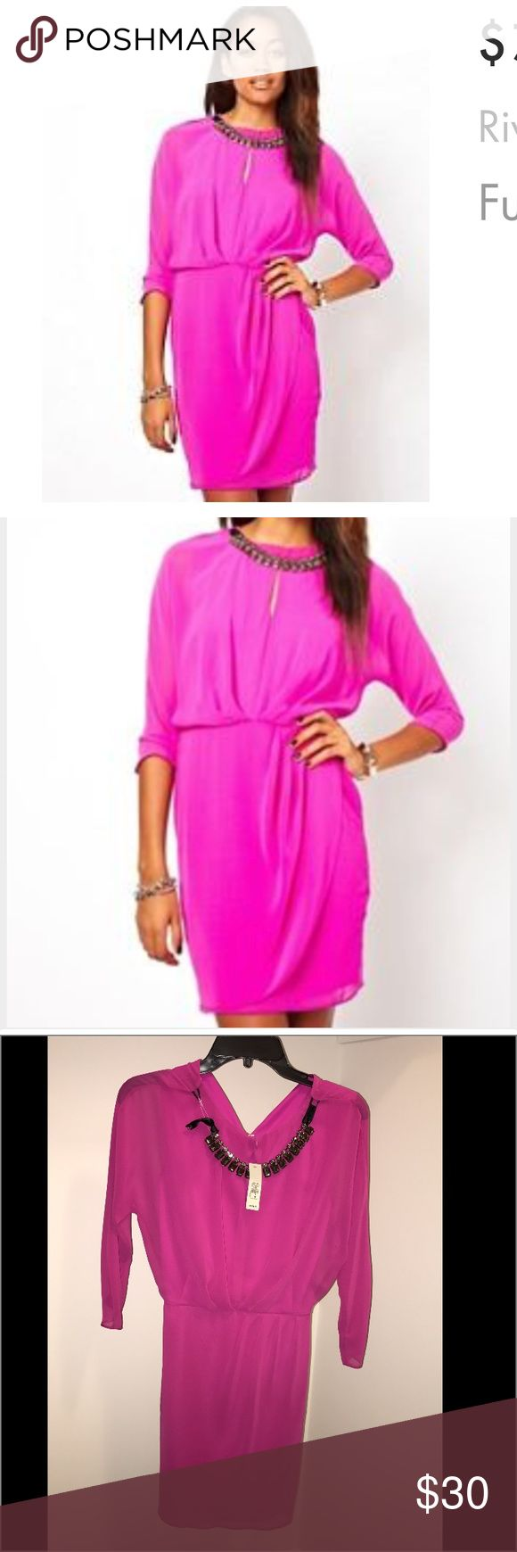NWT River island jewel neck tulip dress sz UK8/US4 NWT River island jewel neck tulip dress. Fuchsia/pink in color. Comes with attached jewel statement necklace piece that is detachable. Brand new, never worn! Perfect for spring!🌷  size UK8 / US4  long sleeve but light weight. River Island Dresses