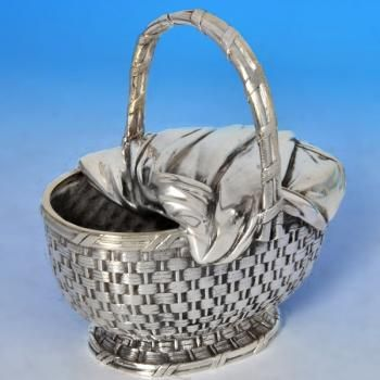Victorian Spoon Warmer: Made circa 1880 by Elkington & Co. This delightful Antique, Silver Plate Spoon Warmer, is shaped as a picnic basket, and measures 5.5 inches (14cm) tall, by 5.25 inches (13.5cm) wide, by 3.75 inches (9.5cm) deep.