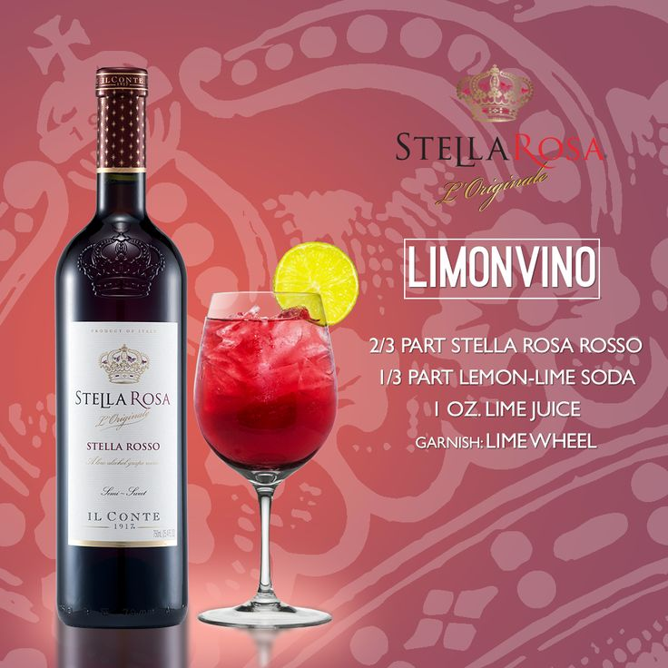 Stella Rosa Wines original cocktail recipe: Limonvino. -- Combine 2/3 part Stella Rosa Rosso, 1 oz. lime juice and 1/3 part lemon-lime soda. Garnish with a lime wheel.