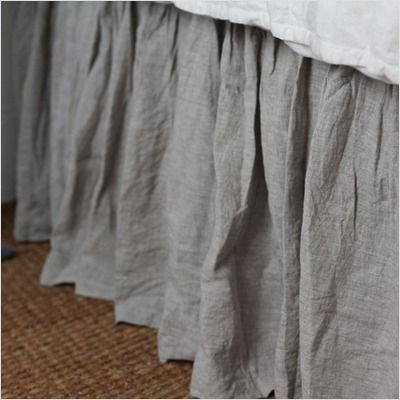 Gorgeous linen fabric. But bed skirts collect more dust, and add time to vacuuming under the bed.