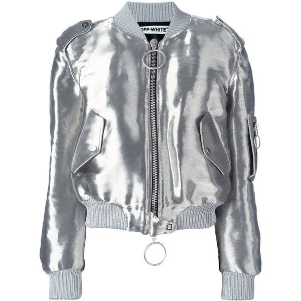 Off-White metallic bomber found on Polyvore featuring polyvore, women's fashion, clothing, outerwear, jackets, grey, bomber style jacket, pattern jacket, metallic bomber jacket and grey bomber jacket