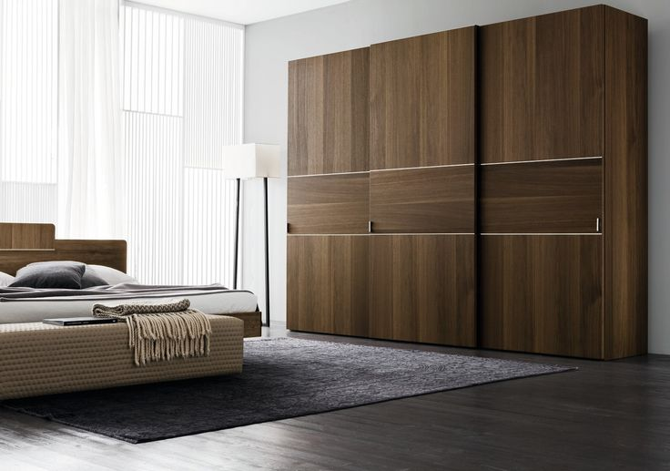 Oak Finish Three Door Sliding Wardrobe Design Id564 - Three Door Sliding Wardrobe Designs - Wardrobe Designs - Product Design