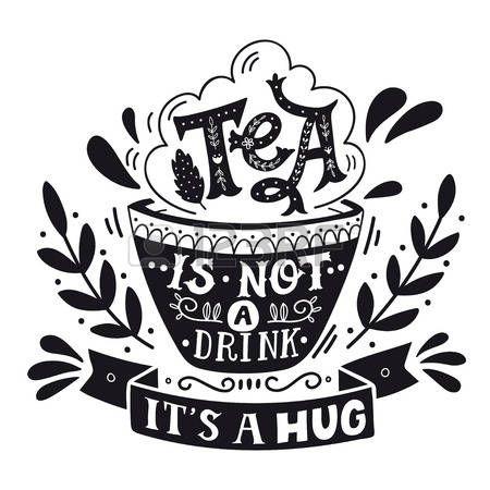 распечатка: Чай не пить, это объятие. Цитата. Рисованной старинные печать с ручной тиснением. Эта иллюстрация может быть использован в качестве печати, на футболки и сумки, стационарными или в виде плаката.