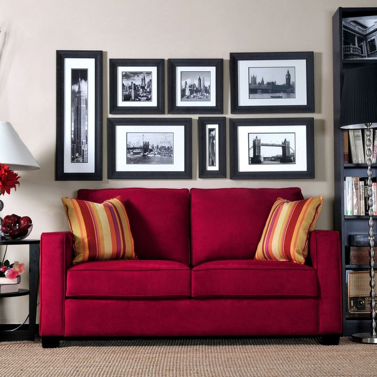 Handy Living Madi Crimson Red Microfiber Sofa with Wine Striped Accent Pillows (Foam)