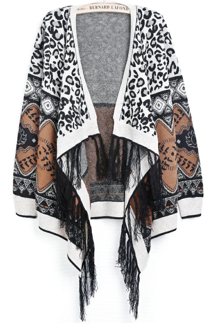 Apricot Long Sleeve Leopard Tassel Cardigan - Sheinside.com
