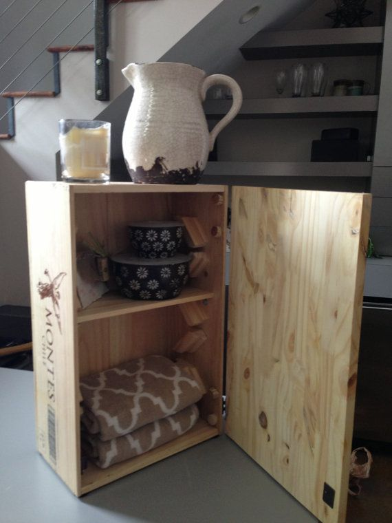 Wooden Wine Crate End Table Or Cabinet /shabby Chic