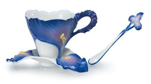 "Unique Iris Tea Cup and Spoon.    Tea does our fancy aid,  Repress those vapours which the head invade  And keeps that palace of the soul serene.  ~Edmund Waller, ""Of Tea"""