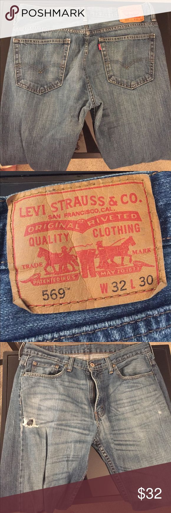 Men Levi Jeans Gently worn but still lots of life left. Just faded a bit. 5 pocket American Levi Jeans. Loose Straight. Levi's Jeans Straight