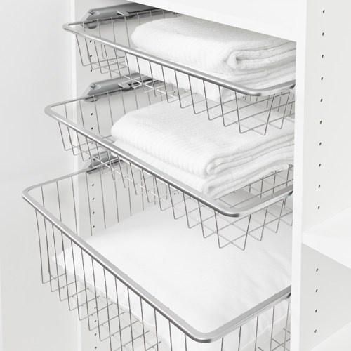 Trådbackar till 60-garderob, Pelly 60. 10 st vita, 85mm höga. Till dem behövs skensats till Pelly Trådback för 16 mm skåpsida (artikel 447101 eller 447105).
