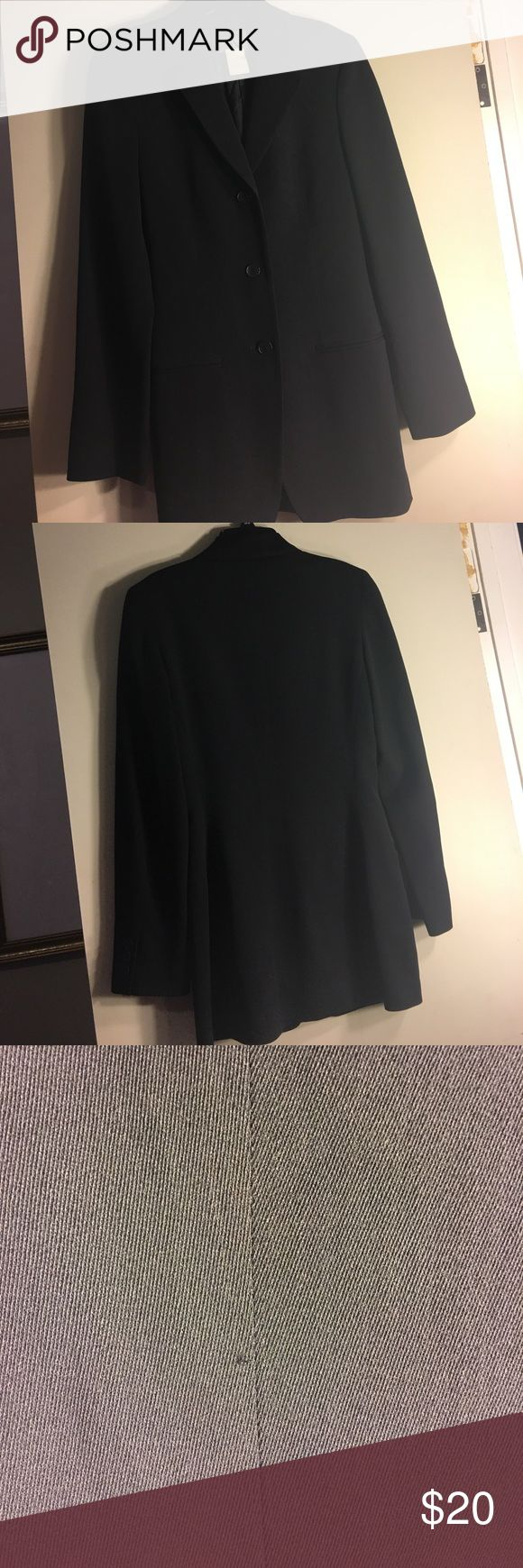 Calvin Klein Wool Blend Black Suit Jacket size 2 Calvin Klein Wool Blend Black Suit Jacket / Blazer size 2.  Made in Italy.  Three Buttons down front.  From a smoke free home.  Note it does have a pulled thread.  Refer to photos to view condition. Calvin Klein Jackets & Coats Blazers