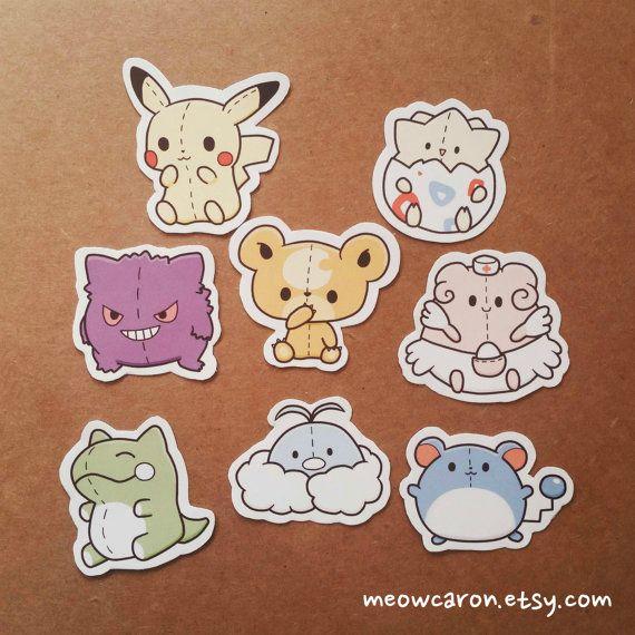 Pokemon Pokedoll Stickers by Meowcaron on Etsy