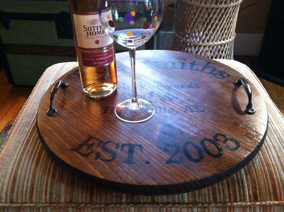 Personalized Wine Barrel Inspired Tray with Handles, Custom Ottoman Tray - Perfect gift for him, anniversary, wedding, new home, shower