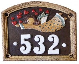 keramické číslo s andělem z dílny aD keramika (fler)