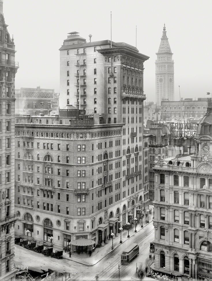 """New York City Announces New Real Estate Tax Rates: New York Circa 1909. """"Hotel Imperial, Broadway And West"""