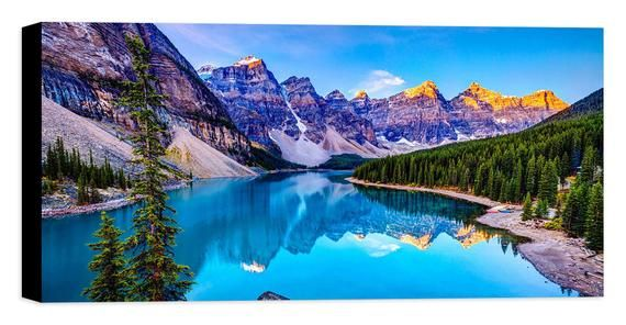 Canada Moraine Lake Backdrop Mountain Natural Landscape Photography Background Clear Water for Wedding Birthday Party Backdrop Vacation Travel Backdrop Prop 10x7ft E00T10244