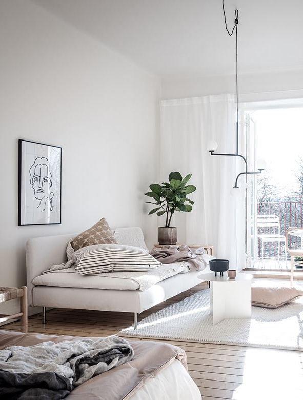 Bedroom And Living Room Combination Via Coco Lapine Design Blog Living Room Scandinavian Small Living Rooms Small Room Design