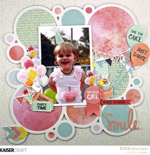 Love this range we will have available soon 'Smile' layout by Rikki Graziana DesignTeam member at Kaisercraft using Party time collection - saved from www.kaisercraft.com.au - Wendy Schultz ~ Scrapbook Layouts.