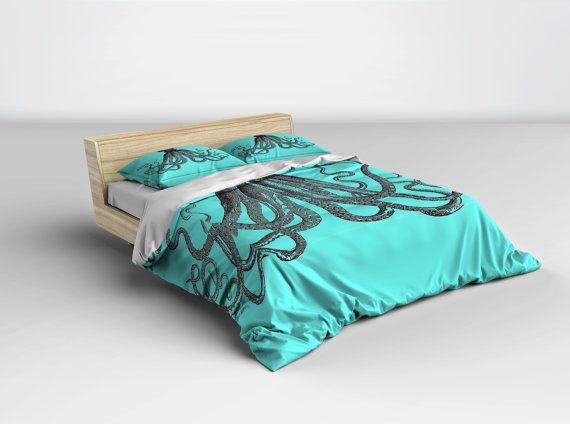 Octopus Bedding  Turquoise Duvet Cover Blue Nautical Bedding