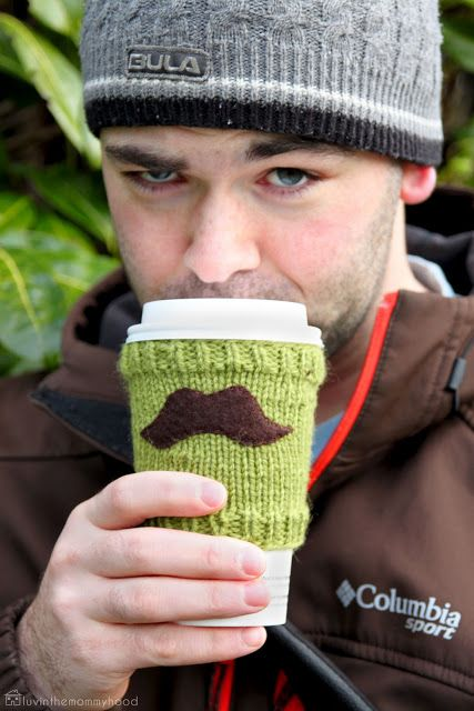 Mustache cup cozy. My solution to having no idea how to knit...sew thick fabric with a mustache on it. Boom! done.