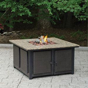 lp granite firepit with decorative wicker base fire pits