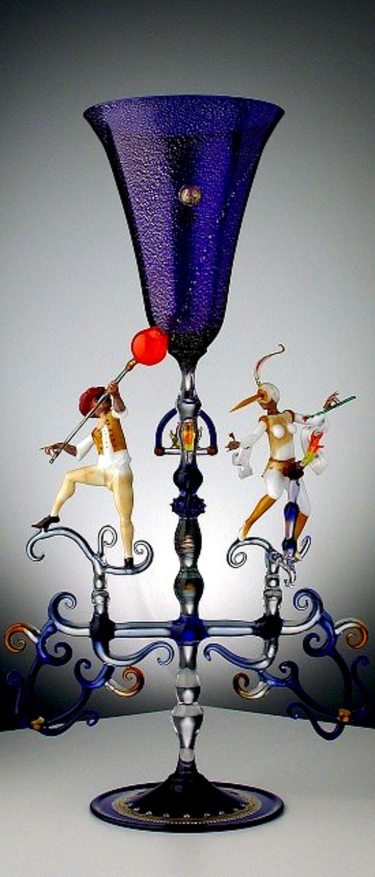 Fantastic Murano glass sculpture/vase by Lucio Bubacco, Venice, Italy