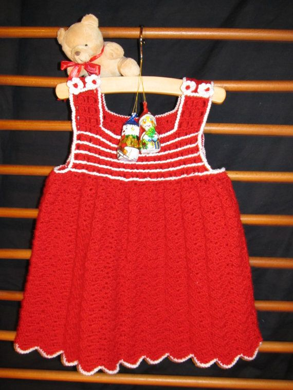 Sweet Dress Baby Crochet Red White Aryclic by MinnieCreation, €49.28