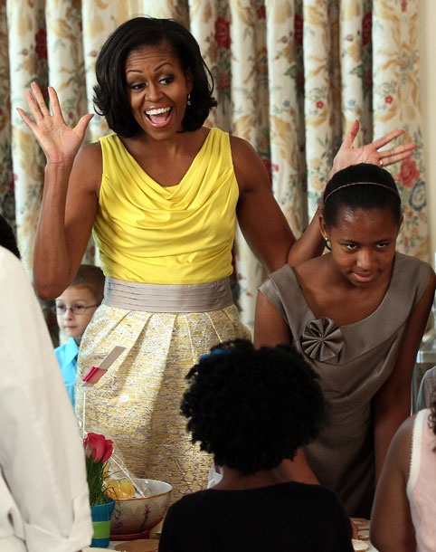 « The Michelle Obama Look Book 2012    5 of 76  May 10, 2012  Where: At a Mother's Day event for military families at the White House.  What: Dress by Rachel Roy.  Photo: Win McNamee/Getty Images    Email