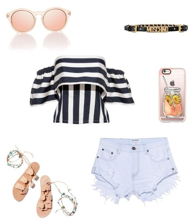 """#Outfit of the day#today's style#Moschino lovers#top#pants#sunglasses#Iphone#pretty shoes"" by carla-ana-maria on Polyvore featuring Ancient Greek Sandals, Casetify, One Teaspoon and Moschino"