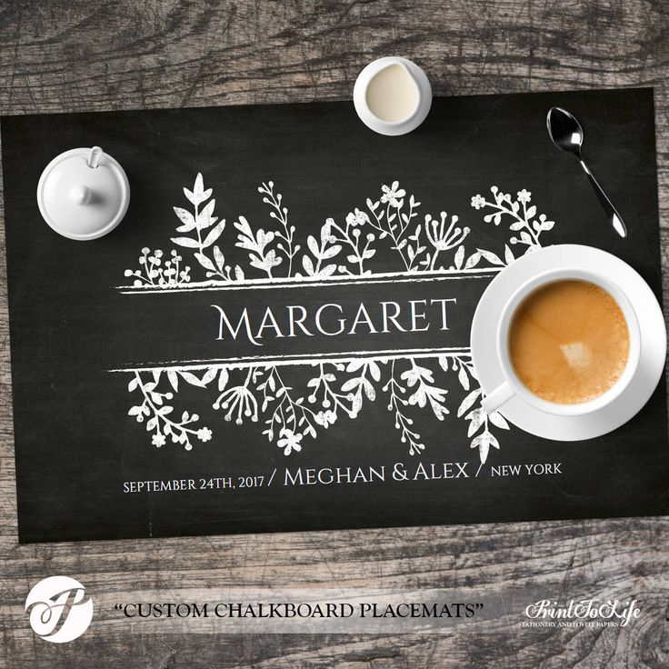 Paper Placemats Template Wedding Dinner Party Table Setting Printable Chalkboard