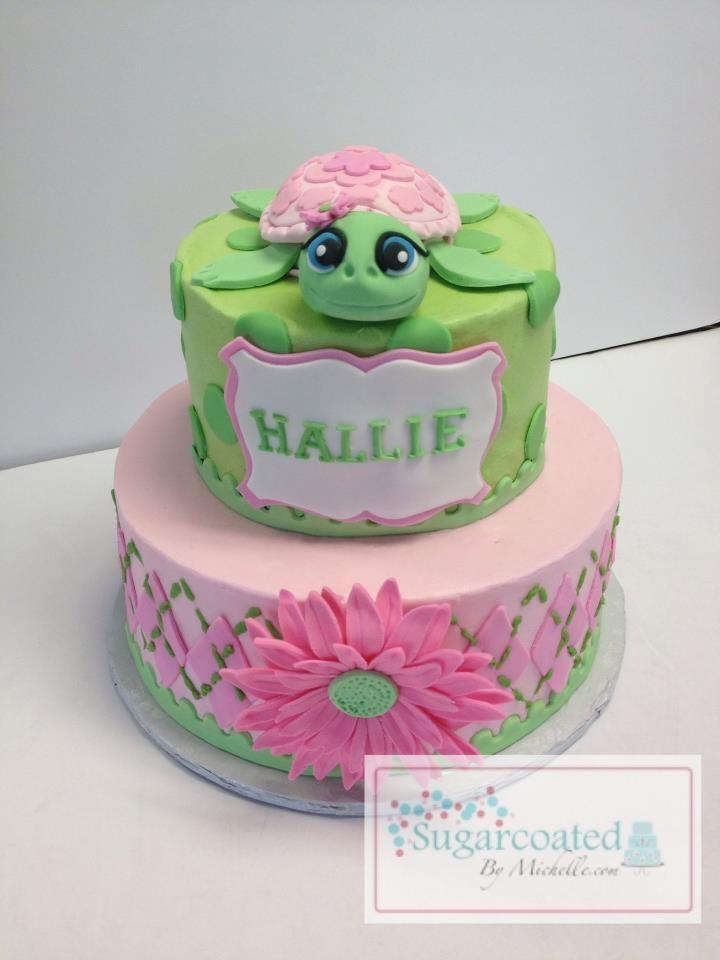 Cute Pink, Green Turtle Cake