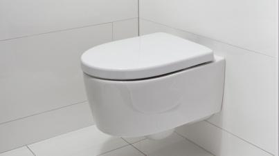Pure Line toiletruimte: In deze toiletcombinatie is een toilet en een softclose toiletzitting van Sphinx opgenomen. Dit compacte toilet is dankzij een innovatieve wandbevestiging aan de buitenkant esthetisch glad en dus uitermate gemakkelijk in het onderhoud.