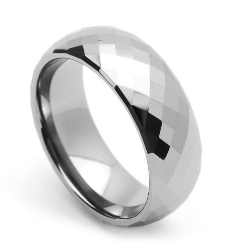 Tungsten Wedding Band Ring For Him For Her 8MM Comfort Fit Domed Faceted Ring