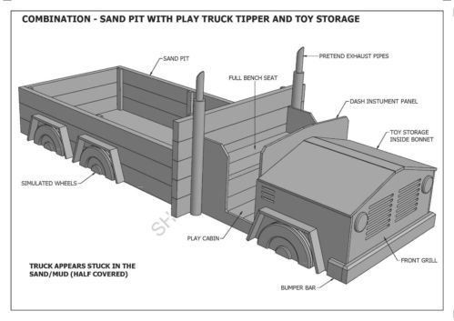 Kids Sand PIT With Play Truck TOY Storage Combo Building Plans V1 Unique | eBay
