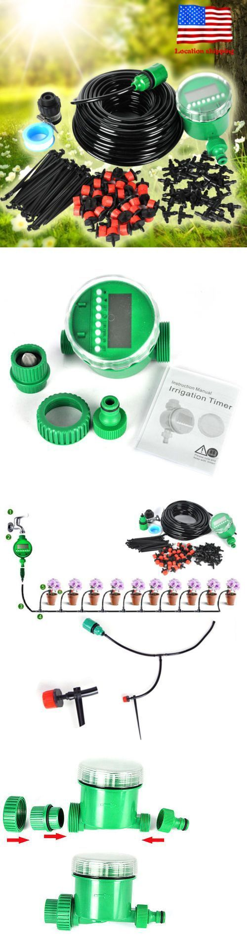 Lawn Sprinklers 20542: 25M Diy Micro Drip Irrigation System Auto Timer Self Plant Watering Garden Hose -> BUY IT NOW ONLY: $33.48 on eBay! #wateringtimer