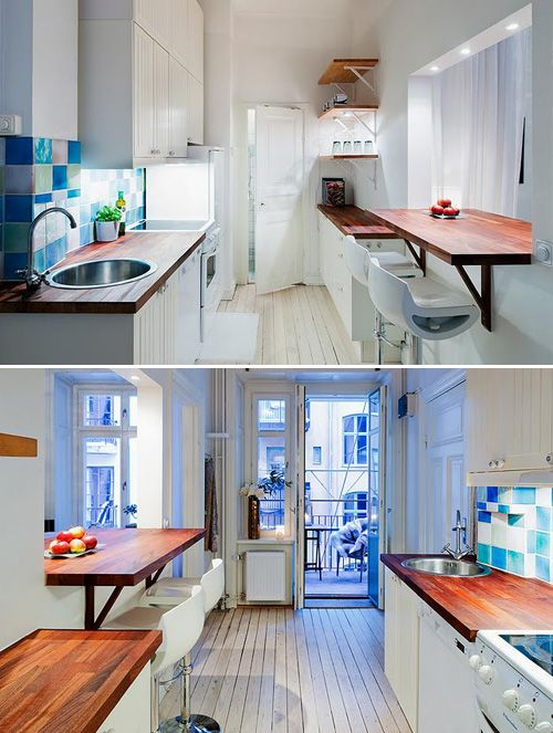 Narrow kitchen breakfast counter for the home for Narrow kitchen ideas home