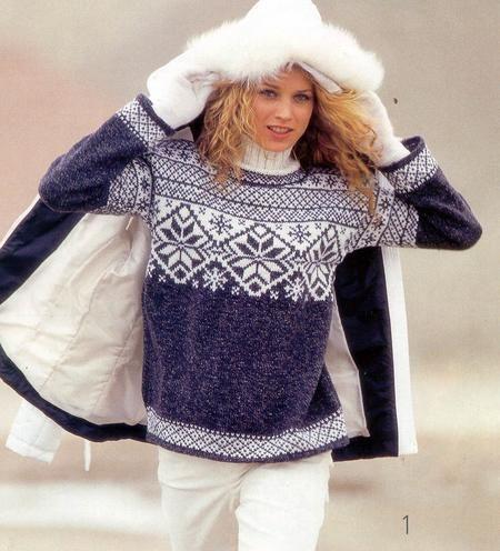 Вяжем мужской свитер в норвежском стиле