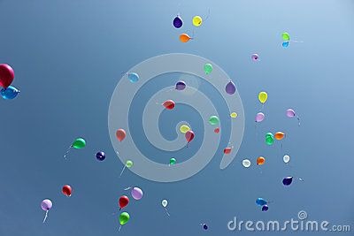 Colored baloons in the blue sky