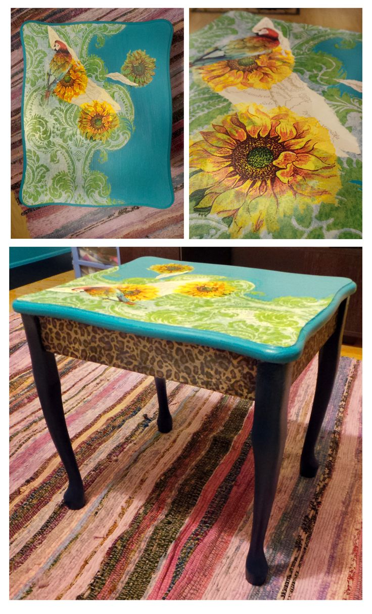 My new table using some leftover map wallpaper from diy.com, Dulux Eggshell paints in Venitian Crystals 1 and Blue Diamond 4, sunflowers from a napkin, green patterned & leopard print tissue paper from Ebay and a parrot cut from a magazine.