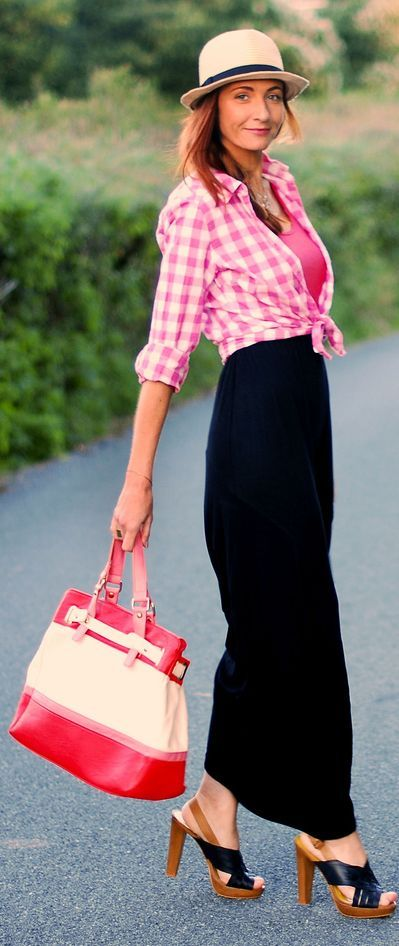 A Black Maxi Skirt, Pink Checks & Dainty Layered Necklaces