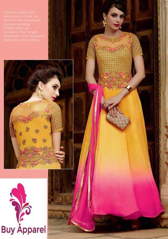 buy saree online Designer Yellow Colour Chiffon Party Wear Anarkali Suit Buy…