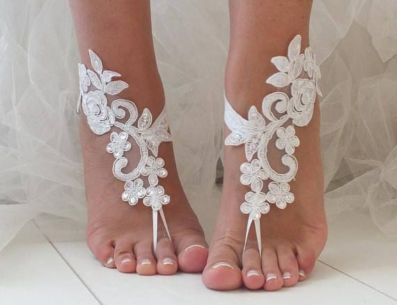 EXPRESS Ship White Or Ivory Foot Jewelry Lace Sandals Beach Wedding Barefoot Bangles Anklets Bridal