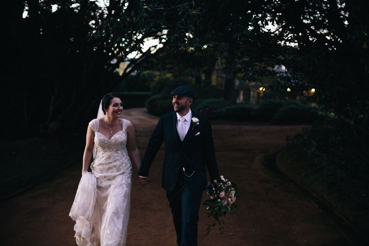 Documentary photography of the bride and groom at sunset. Taken at Bendooley Estate, Berrima, Southern Highlands, Australia - by Anthea and Lyndon Photography and Video.