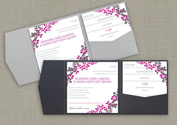 6x6 Pocket Wedding Invitation Template Set - DOWNLOAD Instantly - EDITABLE TEXT - Exquisite Vines (Charcoal & Begonia Pink)  -  Word Format on Etsy, $38.00