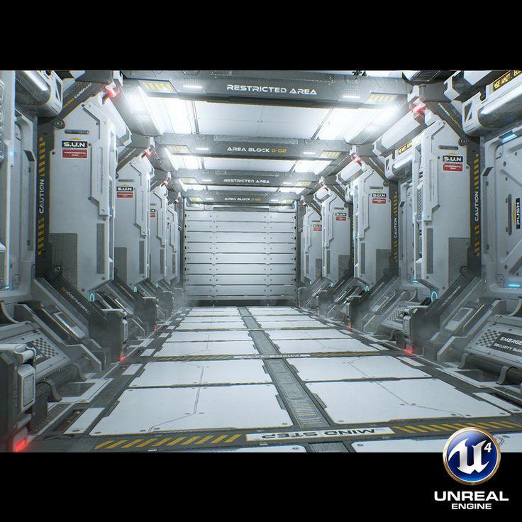 Sci-fi Corridor, Sungwoo Lee on ArtStation at https://www.artstation.com/artwork/Gkly3